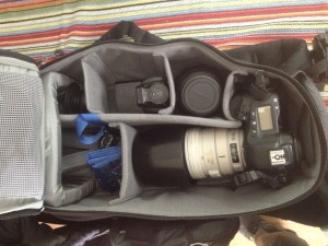 Canon 1D MkIII 100-400, 24-105 Lensbaby Spark, 580 Flash, card wallet
